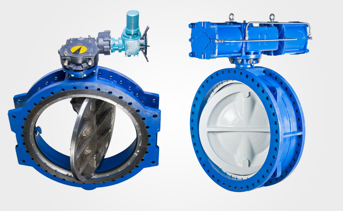 Series double eccentric large size butterfly valves